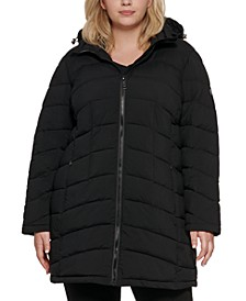 Plus Size Stretch Hooded Packable Puffer Coat, Created for Macy's