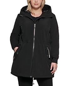 Plus Size Fleece-Lined Hooded Anorak Raincoat