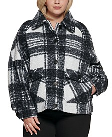 Plus Size Plaid Shirt Jacket, Created for Macy's