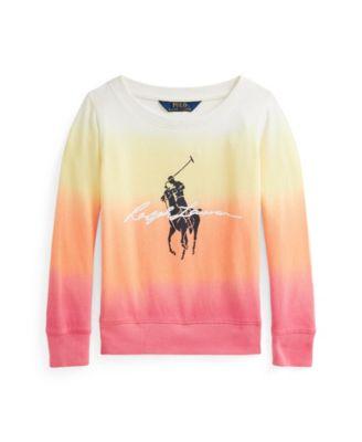폴로 랄프로렌 여아용 스웻셔츠 Polo Ralph Lauren Toddler Girls Ombre Spa Terry Sweatshirt,Classic Peach Dip Dye Multi