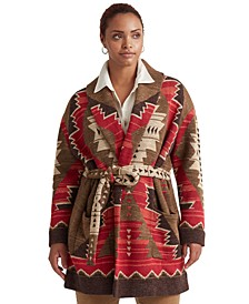 Plus-Size Western-Print Intarsia-Knit Cardigan