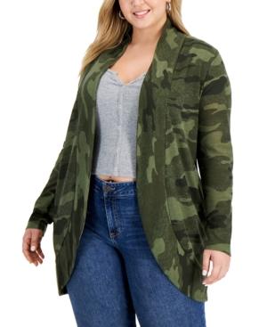 Trendy Plus Size Printed Cardigan