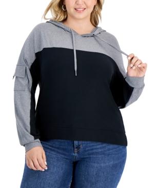 Trendy Plus Size Colorblocked Hoodie
