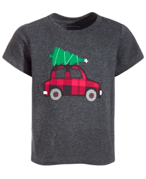 First Impressions Kids' Toddler Boys Car On Tree T-shirt, Created For Macy's In Black Hthr