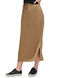 Drawstring Side-Slit Skirt