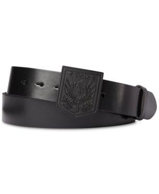 폴로 랄프로렌 Polo Ralph Lauren Mens Shield-Buckle Leather Belt,Black On Black