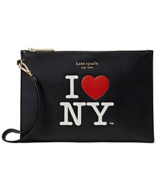 I Heart NY Leather Pouch Wristlet