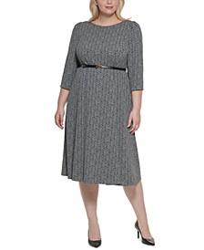 Plus Size Belted A-Line Midi Dress