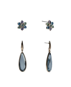 Duo Button and Drop Earrings Set