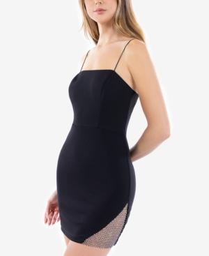 Juniors' Bodycon Net-Rhinestone Detail Dress