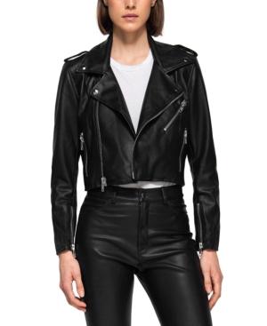 Faux Leather Cropped Biker Jacket