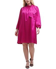 Plus Size Tie-Neck Jacquard Dress