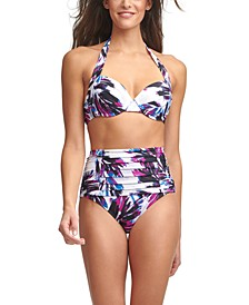 Printed Underwire Bikini Top & Pleated High-Waist Bottoms