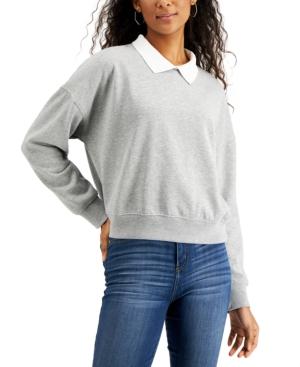 Juniors' Collared Sweatshirt