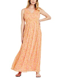 Floral-Print Chiffon Maxi Maternity Dress