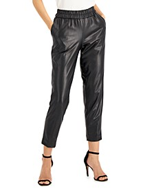 Pull-On Faux-Leather Pants