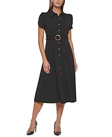 Petite Belted Button-Front Shirtdress