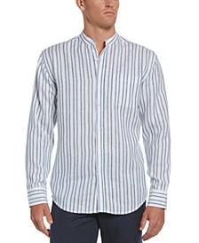 Men's Striped Band-Collar Shirt