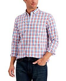 Men's Regular-Fit Stretch Multi Gingham Poplin Shirt, Created for Macy's