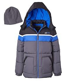 Big Boys Color Blocked Puffer Jacket with Fleece Hat Set, 2 Piece