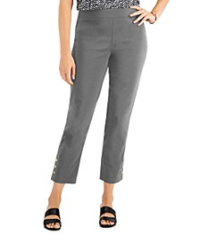 Petite Button-Hem Pull-On Pants, Created for Macy's