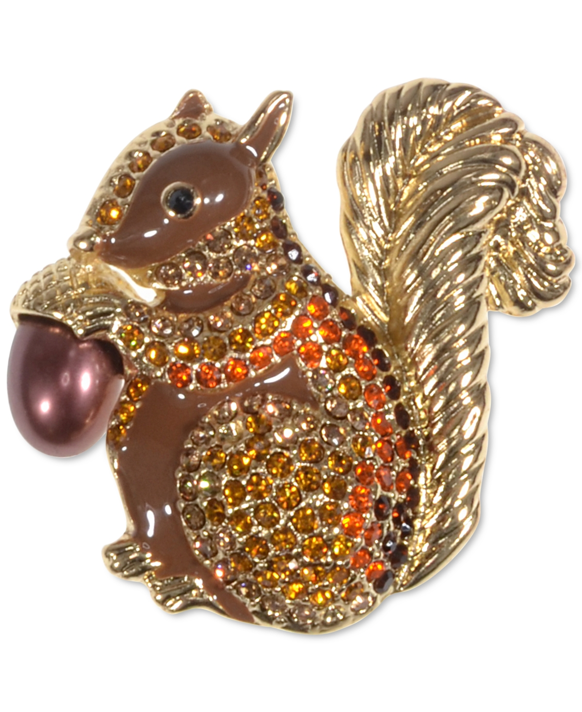 Holiday Lane Gold-Tone Multicolor Crystal Squirrel Pin, Created for Macy's