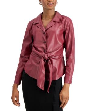 Donna Karen Tie-Front Faux-Leather Shirt