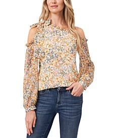Printed One-Shoulder Bow Blouse