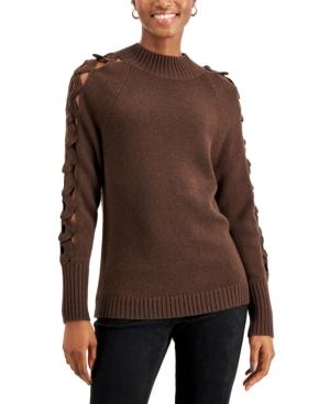 Crochet-Trim Mock-Neck Sweater
