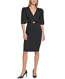 Petite Belted Puff-Sleeve Dress