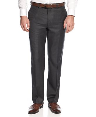 Lauren Ralph Lauren Solid Charcoal Classic-Fit Dress Pants - Suits ...