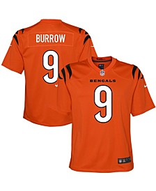 Youth Boys and Girls Joe Burrow Orange Cincinnati Bengals Alternate Game Jersey