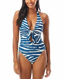 Tie-Front Halter One-Piece Swimsuit