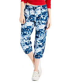 Bungee-Cuff Tie-Dyed Capri Pants, Created for Macy's