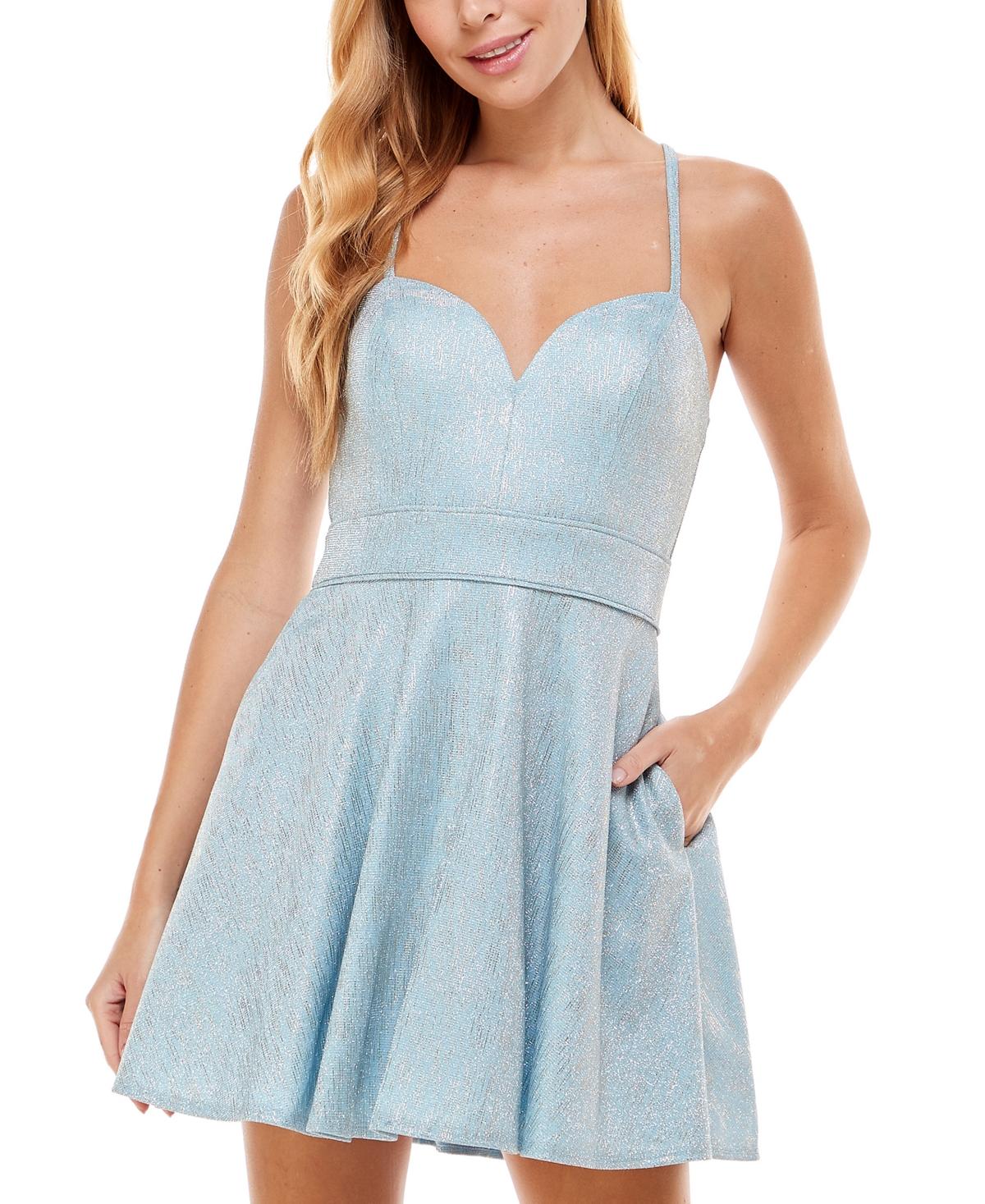 Crystal Doll Juniors' Sweetheart-Neck Shimmer Dress