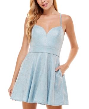 Juniors' Sweetheart-Neck Shimmer Dress