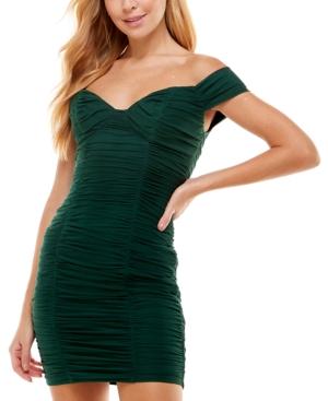 Juniors' Off-The-Shoulder Ruched Dress