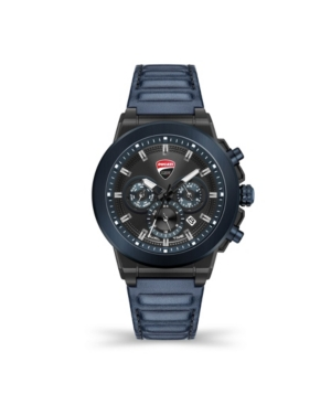 Men's Campione Multifunction Blue Genuine Leather Strap Watch 45mm