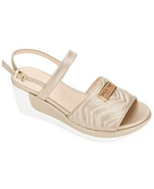 Women's Pepea Two Piece Quilted Wedge Sandals