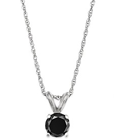 Black Diamond Round Pendant Necklace in 10k White Gold (1/3 ct. t.w.)
