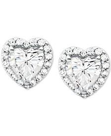 Sterling Silver Cubic Zirconia Heart Halo Stud Earrings