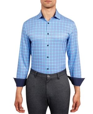 Con. Struct Men's Slim-Fit Performance Stretch Plaid Print Dress Shirt