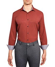 Men's Slim-Fit Wrinkle-Free Performance Stretch Dot Print Dress Shirt