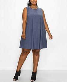Plus Size Swiss Dot Short Sleeve Swing Pocket Dress