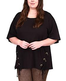 Plus Size Asymmetrical Lace-Up Tunic