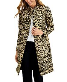 Animal-Print Stand-Collar Topper Jacket