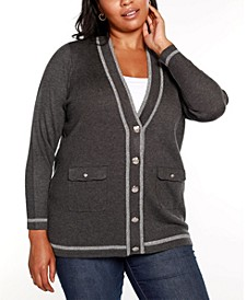 Black Label Plus Size Button Front Cardigan with Lurex Stripe Detailing