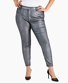 Plus Size High-Rise Coated Skinny Ankle Jeans, Created for Macy's