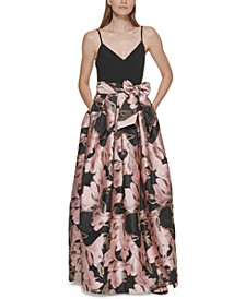 Printed-Skirt Ball Gown