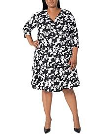 Plus Size Surplice Tiered Dress